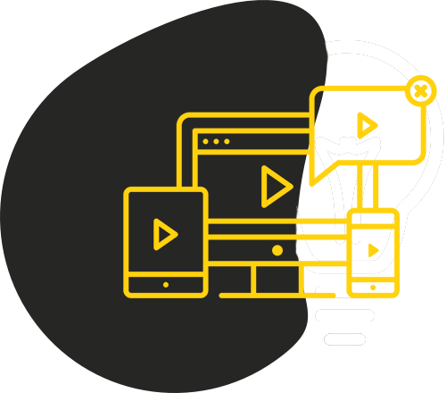 Black blob shape with yellow outline of different devices displaying a play button