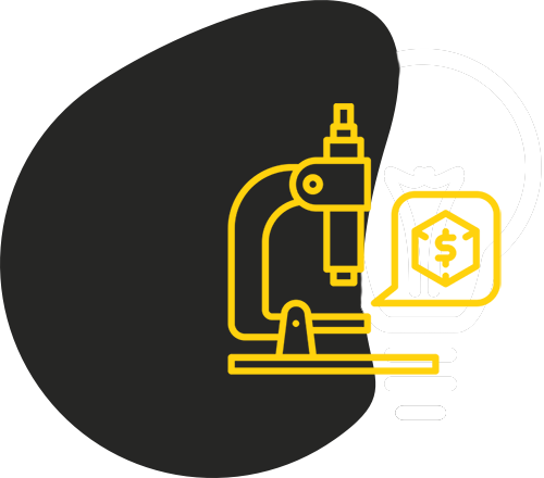 Black blob shape with yellow outline of a microscope with a speech bubble displaying a dollar sign in a cube