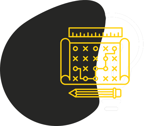 Black blob shape with yellow outline of tic-tac-toe, a ruler, and a pencil